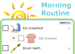 You can create your own list to make your mornings smoother and empower your kids! The Trip Clip makes it easy to create and print custom morning routines for your kids, and the pictures make it easy for big and little kids to know what needs to be done next. Try it at your house and find out how capable your kids are! You'll finally have time to finish that cup of coffee.