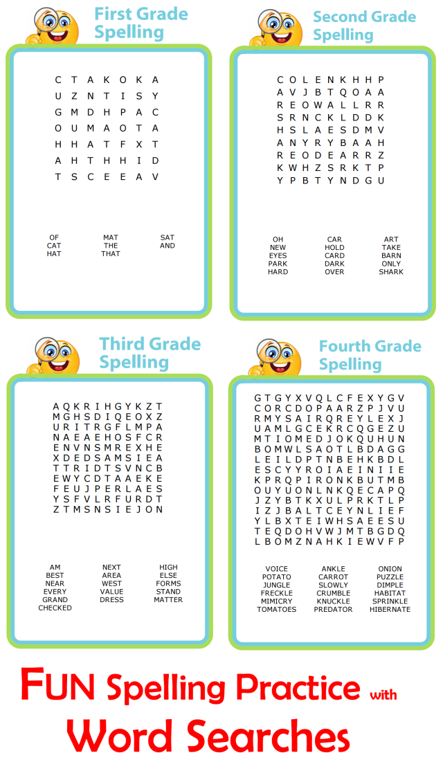 Word Search Spelling Practice All Grade Levels
