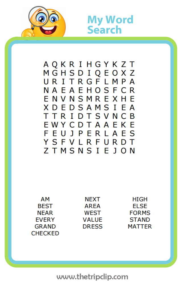 Third grade word search spelling practice