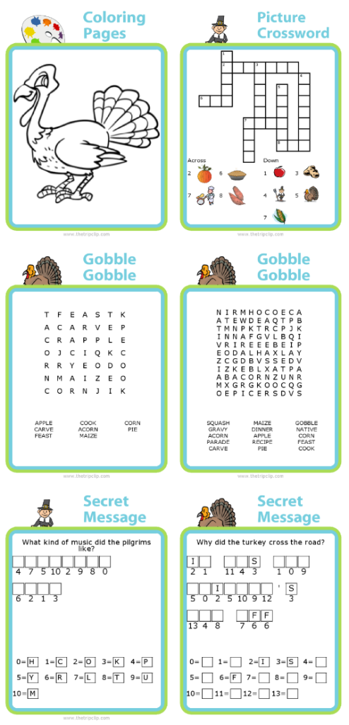Try these FREE printable Thanksgiving activities for kids! You can create your own and print more at www.thetripclip.com.
