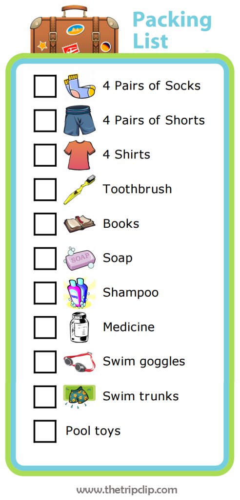 Picture Packing List for Older Kids