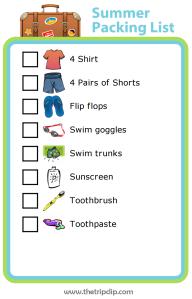 Summer Packing List for Kids