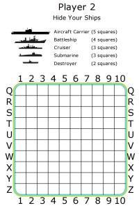 Printable Battleship