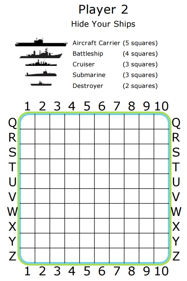 This is a photo of Soft Battleship Game Printable