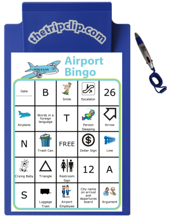 Airport Bingo with Clipboard and Pen