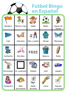 Keep the little ones entertained on the sidelines and teach them a little spanish along the way with this Futbol Bingo Board