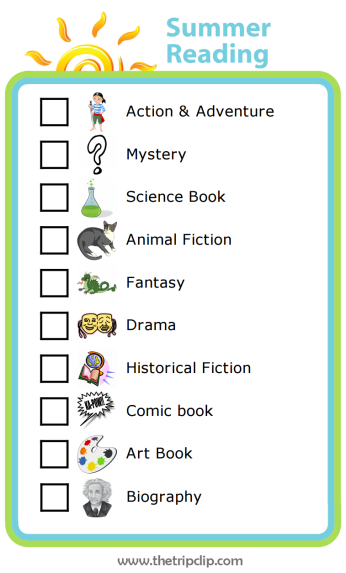 Make your own summer reading list with The Trip Clip custom checklist maker. This list by book genre will encourage kids to broaden the kinds of books they read this summer.