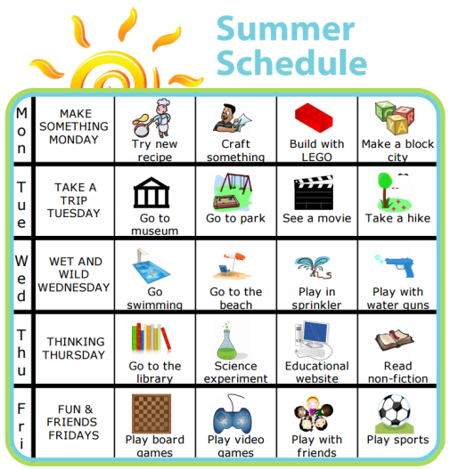 Add a little structure to your summer with a picture schedule. This one is super easy to edit so you can make it right for your family.