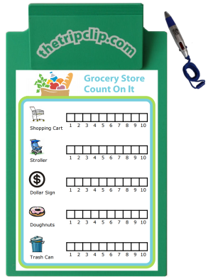 It's a grocery store scavenger hunt! Challenge your kids to find as many of each item as they can. You can easily create your own hunt with the 100s of images at www.thetripclip.com.