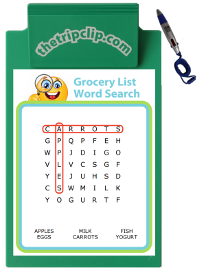 Make your own grocery list word search puzzle! Your kids can search for the words at the same time you search for the items on the list. A great way to get through a grocery trip with kids!