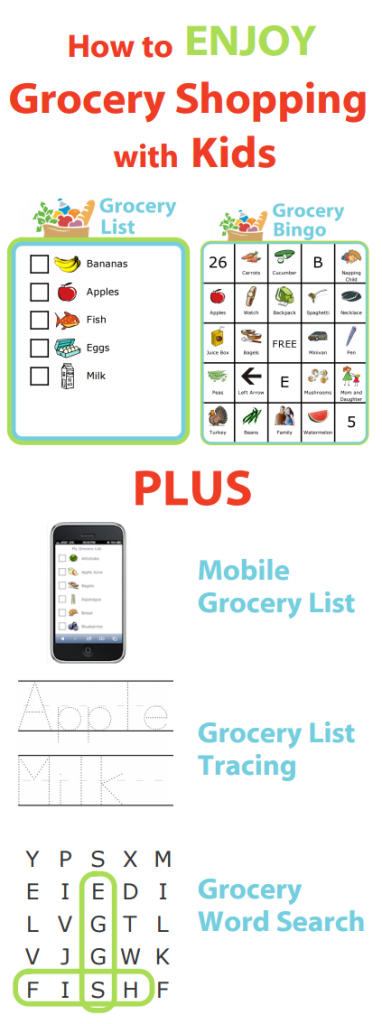 You can enjoy grocery shopping with your kids with these printable grocery activities from The Trip Clip.
