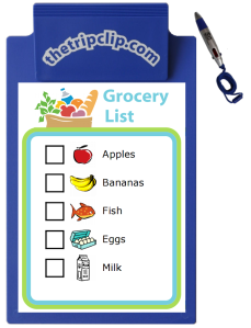 With The Trip Clip you can easily make your own grocery list, and the kid-sized clipboard and 4-color pen are perfect for using the list on the go.