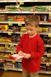 Keep the kids entertained at the grocery store with grocery store or alphabet bingo boards!