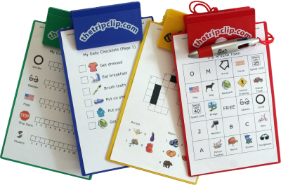 This cute, half-size clipboard comes in blue, red, yellow and green. Use it with The Trip Clip's printable activities for fun on the go!