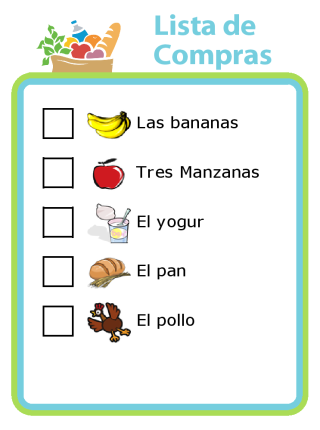 Get in a little Spanish practice at the grocery store with a Lista de Compras! You can make a grocery list in any language you want.