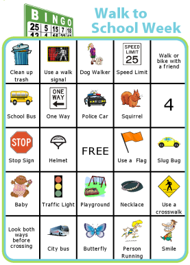 Encourage your kids to walk to school with this Bingo Board. It's great for health, concentration, traffic, and the environment!