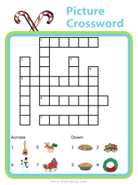 Christmas picture clues crossword puzzle for kids - fun and educational!