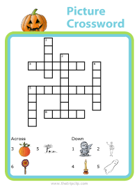 Halloween picture clues crossword puzzle for kids - fun and educational!