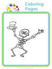 Halloween skeleton coloring page - choose from over 500 pictures to color!