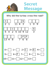 Make your own Thanksgiving themed secret message puzzle for kids - fun and educational!