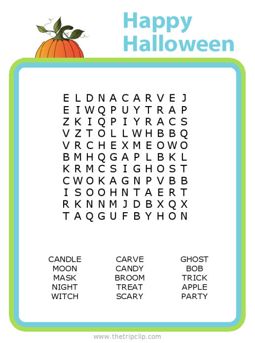 Make your own Halloween word search puzzle for any age kid!