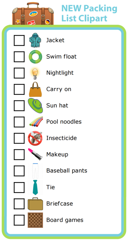 Based on customer feedback, I've added 12 new images to the Packing List activity. Let your kids help pack their own bags for your next trip. You may be surprised how much they can do on their own!