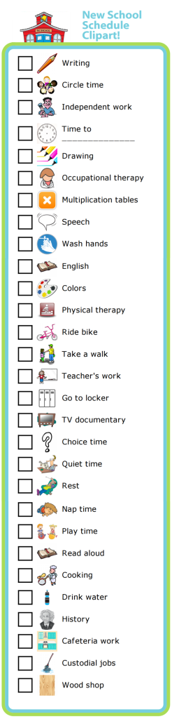 I've added 29 new images to the School Schedule activity. You can use these pictures to create a schedule for your home school, or to help a special needs child know what to expect from their school day. This works very well for kids with Autism, Asperger's, or ADHD.