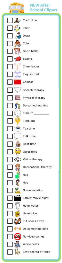30 new pictures to help you take control of those crazy after school hours with a daily checklist. It will keep your kids on track, and put them in charge!