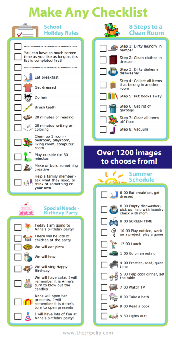 Checklists can be a great way to keep track of tasks, let your kids know what your expectations are, or even teach them how to do something. The only limit is your imagination with this custom checklist maker.