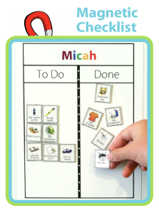Make your checklist magnetic. You can buy pre-printed magnets, or go to www.thetripclip.com and print your own!