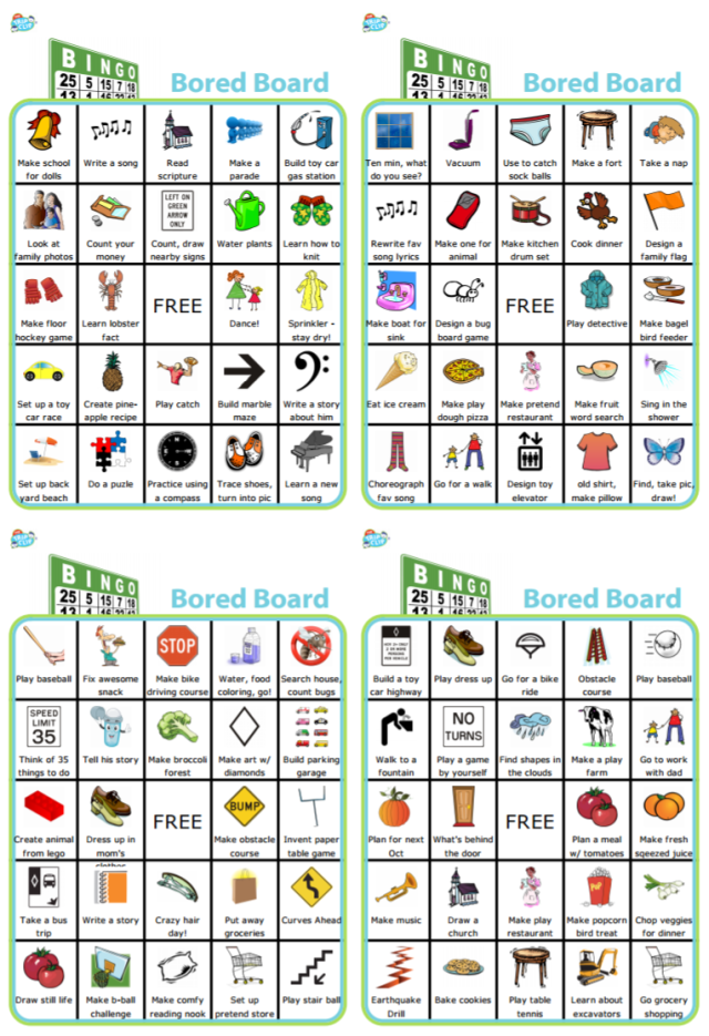 For all those moments over the summer when your kids can't think of a single thing to do, try one of these free Bingo Bored Boards.