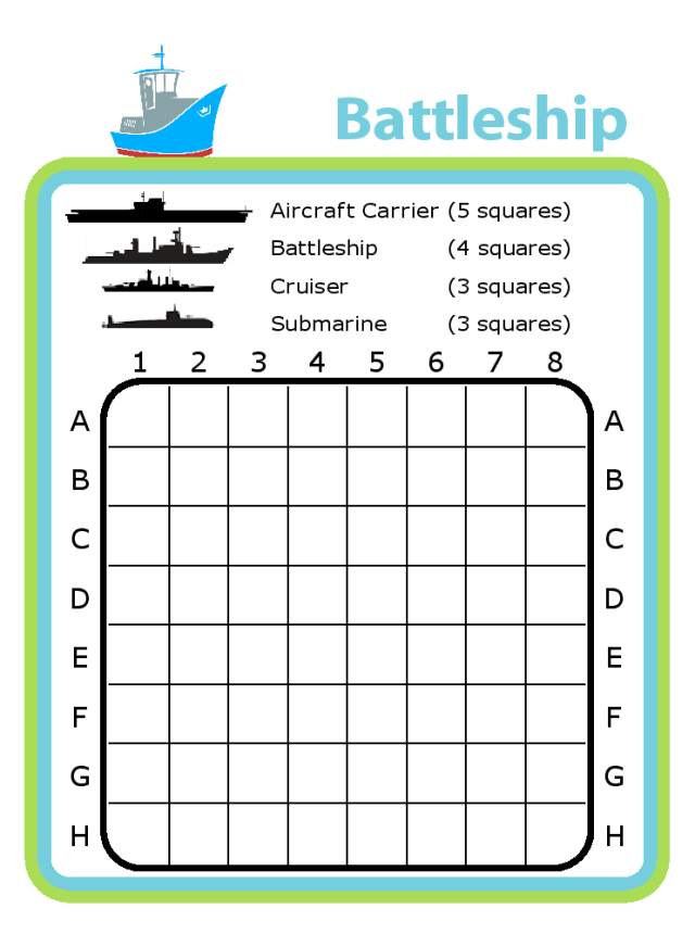 Practice simple graphing with a paper version of battle - all the fun of the board game without all the tiny pieces!