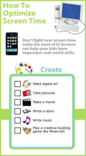 Don't fight over screen time, make the most of it! Screens can help your kids learn important, real-world skills. Here are great suggestions for using technology to get creative.