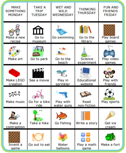 With The Trip Clip's weekly schedule, you can easily create your own version of this chart with ideas of all sorts of fun things you can do this summer – use it to set goals, make a bucket list, or encourage them to find their own entertainment!