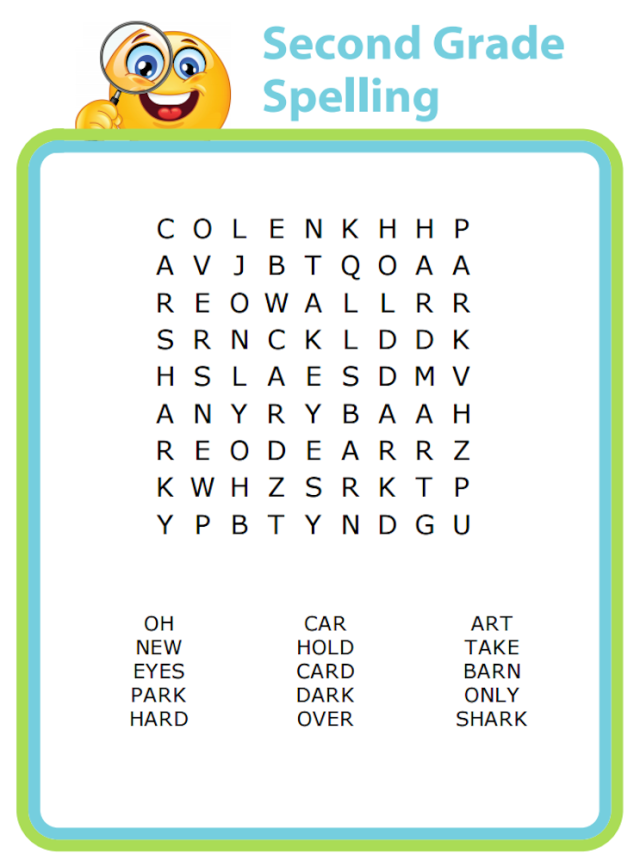 Word search puzzles are a great way to do spelling practice - you can find word lists by grade online.