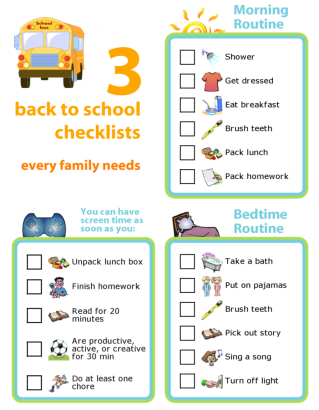 Get organized for the new school year with these 3 picture checklists.