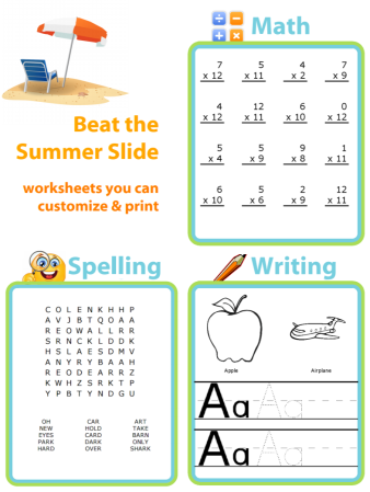 You can customize and print worksheets that are just right for your child's age and abilities. A little practice can help them the the year on the right foot!