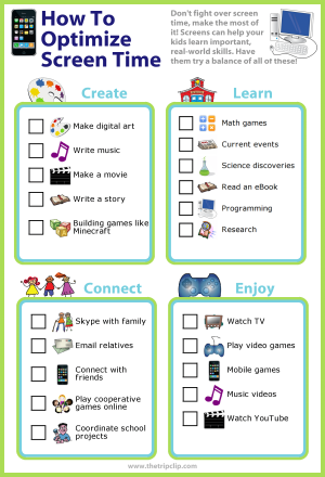 Don't fight over screen time, make the most of it! Screens can help your kids learn important, real-world skills. Have them try a balance of all of these!
