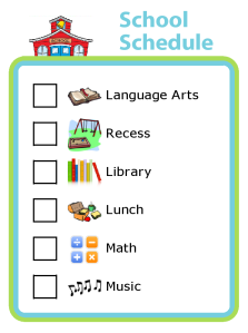 This visual school schedule is great for home schoolers and for kids with Autism, Asperger's, ADHD, and other special needs. It helps them know what to expect from their school day.