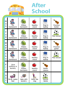 A weekly after school chart is great for helping kids keep track of their busy schedules. You can also keep track of tasks that need to be done before screen time!