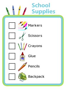 Put your kids in charge of their school supply shopping with a picture checklist.