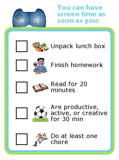 Free Printable: After school screen time rules