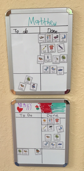 You can use The Trip Clip magnets to make magnetic whiteboard checklists for your kids.