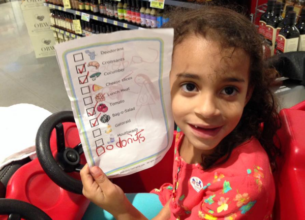 You can use The Trip Clip to make a picture grocery list for your kids - just watch out for them adding their own items to the list!