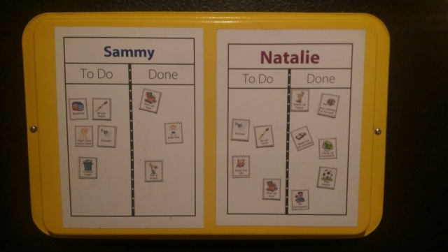 You can use The Trip Clip and a $1 cookie sheet to make a magnetic picture checklist for your kids!
