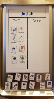 Make magnetic checklists with The Trip Clip and cookie sheets!