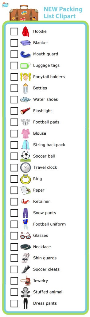25 more pictures you can use to create a packing list for a trip, for school, for a sports practice - you name it!