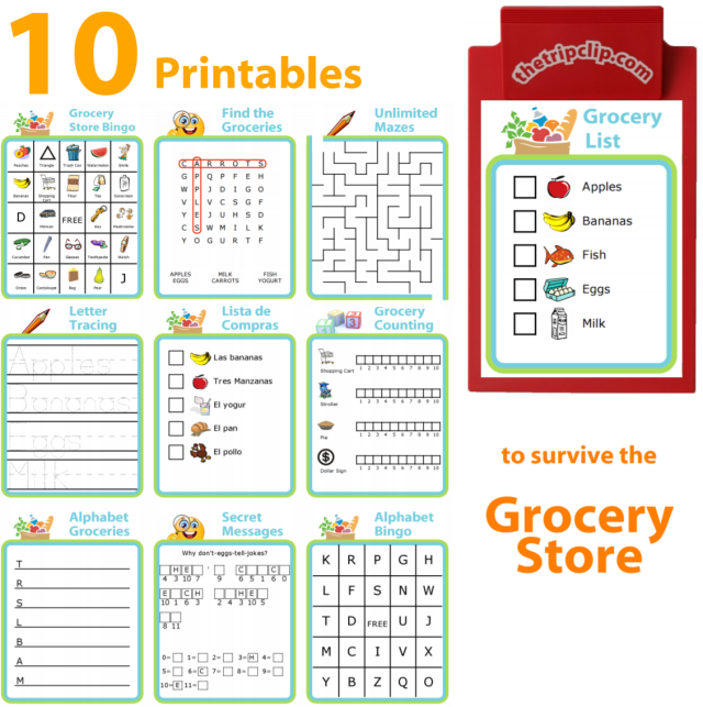 10 printables to help you survive grocery shopping with kids. Print this PDF for free!