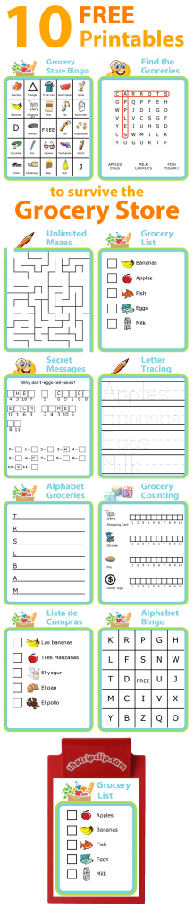 The Trip Clip® has lots of great activities you can print and use at the grocery store with your kids.I like to take these to the grocery store with a small clipboard and pen to entertain my kids while I get the shopping done.