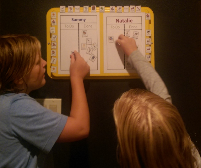 Customer Spotlight: Heather from WA painted a cookie sheet and used it for her kids' magnetic checklists. I like how the extra magnets that aren't needed every day can live around the edges.